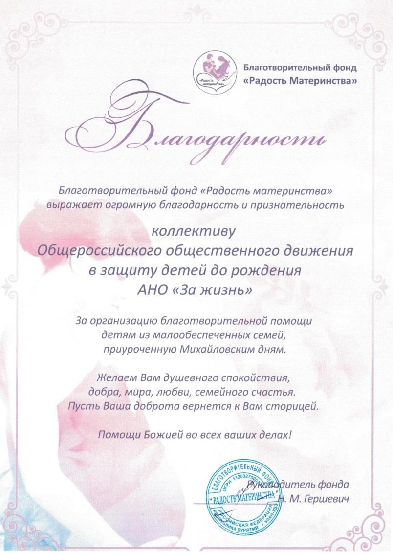 К Михайловским дням помощь получили 20 семей.
